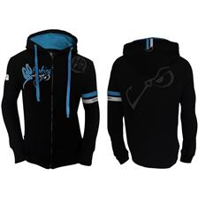 MAN HOODIE ZIPPE HOT SPOT DESIGN GO FISHING - BLACK