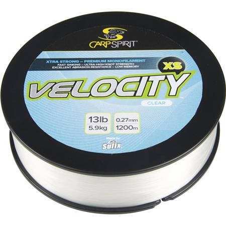 NYLON CARP SPIRIT VELOCITY XS LO-VIS CLEAR - 1200M