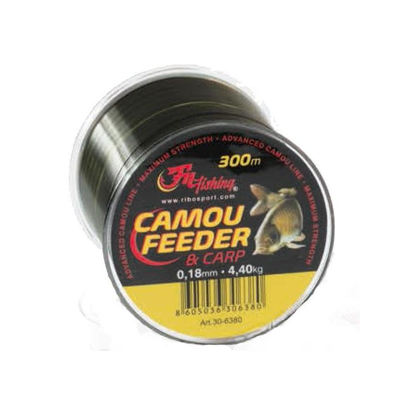 NYLON CARPE AUTAIN FEEDER & CARP CAMOU - 300M - 22/100