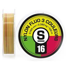 NYLON FLUO 3 COULEURS JAUNE ROUGE VERT 18/100