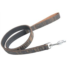 OILED AND VINTAGE-STYLE FLESH SPLIT LEATHER URBAN TRIBE COLLECTION DOG LEASH MARTIN SELLIER URBAN TRIBE