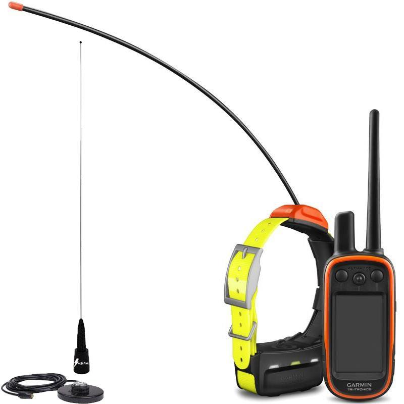 PACK GARMIN REPERAGE TELECOMMANDE ALPHA 100 ET COLLIER T5 + ANTENNE DE TOIT SUPRA FLEX BLACK EDITION - Pack Alpha 100 + T5 + Antenne de toit