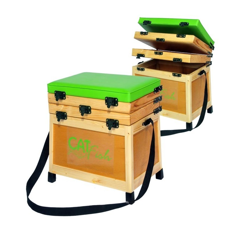 panier siege bois catfish rustic 2 casiers bois. Black Bedroom Furniture Sets. Home Design Ideas