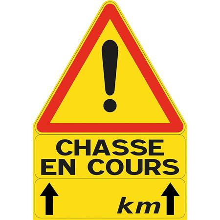 PANNEAU DE SIGNALISATION TRIANGULAIRE LIGNE VERNEY-CARRON CHASSE EN COURS