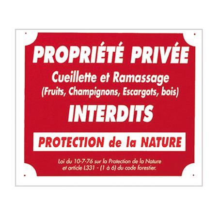 PANNEAU SIGNALISATION EUROP ARM PROPRIÉTÉ PRIVÉE CUEILLETTE