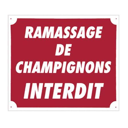 PANNEAU SIGNALISATION EUROP ARM RAMASSAGE DE CHAMPIGNONS INTERDIT