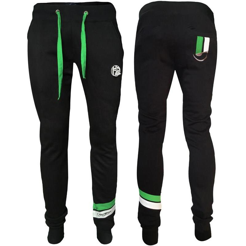 PANTALON HOMME HOT SPOT DESIGN HS WITH PIQUET STRIPES GREEN - NOIR - L