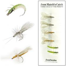 PAQUETE DE 6 MOSCAS J:SON MATCH'N CATCH CADDIS LARGE