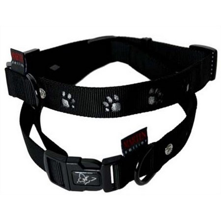 PATTES SYLVER NYLON ADJUSTABLE DOG COLLAR MARTIN SELLIER PATTES SILVER