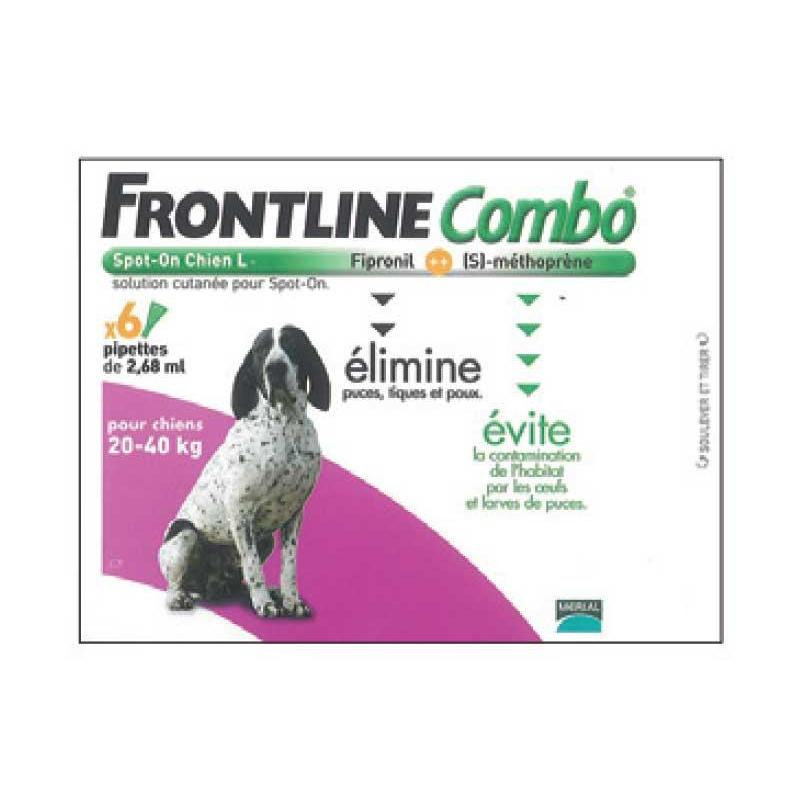 PIPETTE INSECTICIDE FRONTLINE COMBO CHIEN L 20-40KG - 6 pipettes