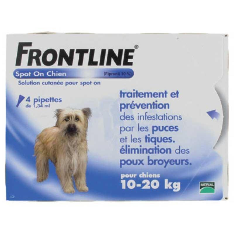 PIPETTE INSECTICIDE FRONTLINE SPOT ON CHIEN 10-20KG - 6 pipettes