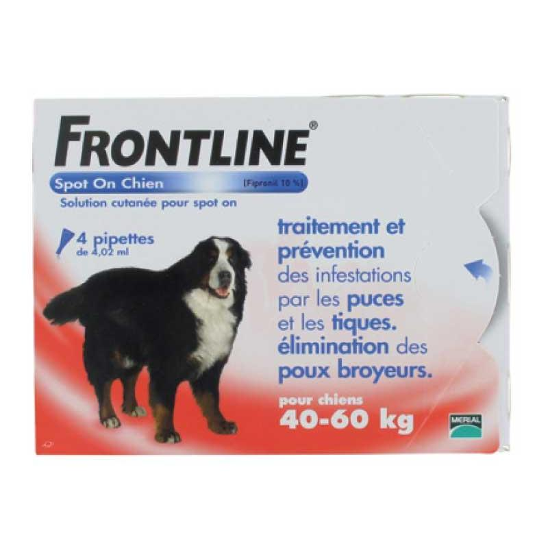PIPETTES INSECTICIDES FRONTLINE SPOT ON CHIEN XL (40-60KG) - 6 pipettes