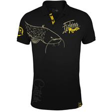 Apparel Hot Spot Design FISHING MANIA CATFISH POLO HOMME NOIR