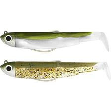 PRE-RIGGED SOFT LURE FIIISH DOUBLE COMBO BLACK MINNOW 90