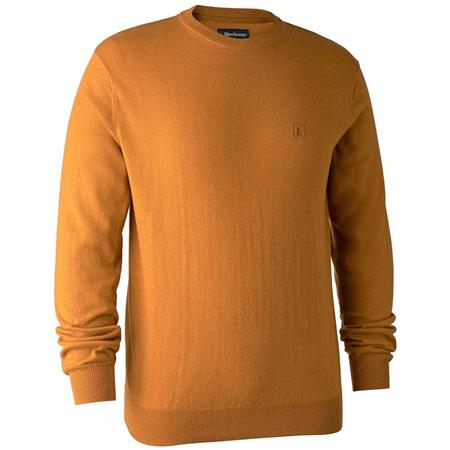 PULL HOMME DEERHUNTER KINGSTON WITH O-NECK - OCRE