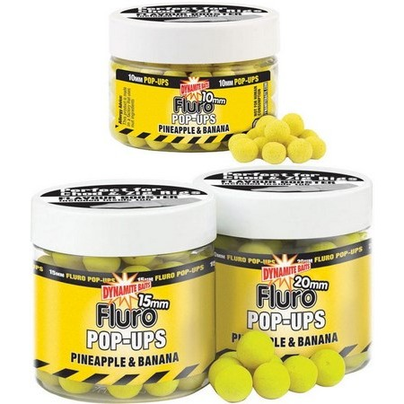 SCHWIMMBOILIES DYNAMITE BAITS FLURO POP-UPS PINEAPPLE AND BANANA