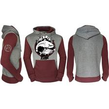 SWEAT HOMME HOT SPOT DESIGN FISHING TIME GLANIS - GRIS/BORDEAUX