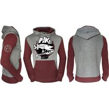 SWEAT HOMME HOT SPOT DESIGN FISHING TIME PIKE - GRIS/BORDEAUX