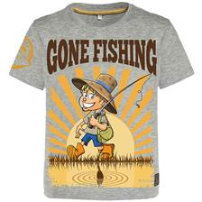 T-SHIRT JUNIOR - GRIGIO HOT SPOT DESIGN CHILDREN GONE FISHING