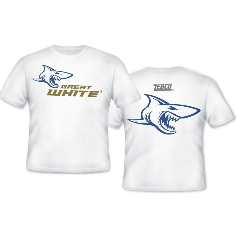 T shirt zebco great white for Good white t shirts