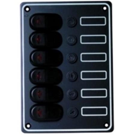 TABLEAU ELECTRIQUE PLASTIMO ETANCHE ALUMINIUM NOIR - 6 INTERRUPTEURS