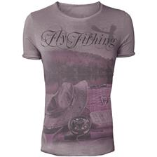 TEE SHIRT HOMME MANCHES COURTES HOT SPOT DESIGN VINTAGE FLY FISHING - VIOLET