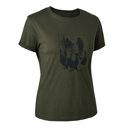TEE SHIRT MANCHES COURTES FEMME DEERHUNTER LADY WITH SHIELD - KAKI