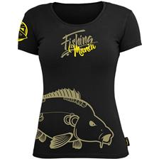 TEE SHIRT MANCHES COURTES FEMME HOT SPOT DESIGN FISHING MANIA CARPFISHING - NOIR
