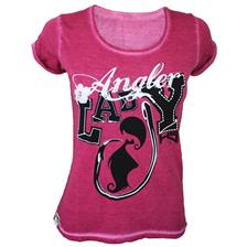 TEE SHIRT MANCHES COURTES FEMME HOT SPOT DESIGN LADY ANGLER - ROSE