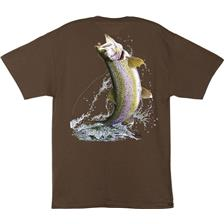 TEE SHIRT MANCHES COURTES HOMME AL AGNEW TROUT ON A FLY - MARRON
