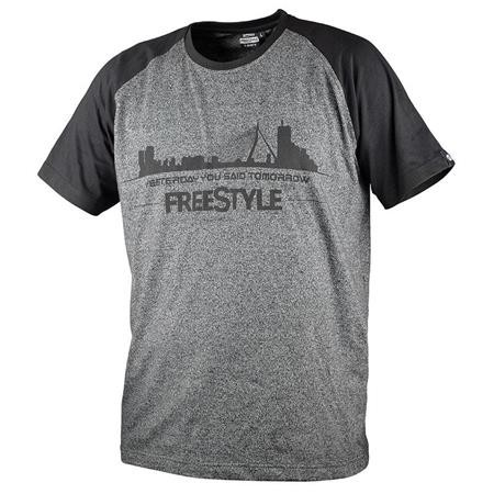 TEE SHIRT MANCHES COURTES HOMME FREESTYLE - GRIS/NOIR