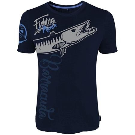 TEE SHIRT MANCHES COURTES HOMME HOT SPOT DESIGN FISHING MANIA BARRACUDA - BLEU MARINE