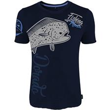 TEE SHIRT MANCHES COURTES HOMME HOT SPOT DESIGN FISHING MANIA DORADO - BLEU MARINE