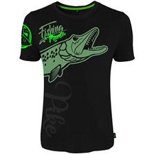 TEE SHIRT MANCHES COURTES HOMME HOT SPOT DESIGN FISHING MANIA PIKE - NOIR