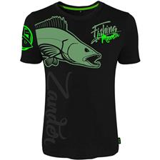 TEE SHIRT MANCHES COURTES HOMME HOT SPOT DESIGN FISHING MANIA ZANDER - NOIR