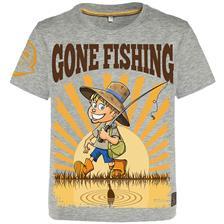 TEE SHIRT MANCHES COURTES JUNIOR HOT SPOT DESIGN CHILDREN GONE FISHING - GRIS