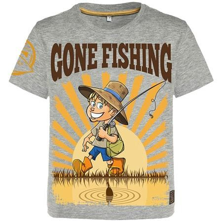TEE SHIRT MANCHES COURTES JUNIOR HOT SPOT DESIGN CHILDREN GONE FISHING - GRIS