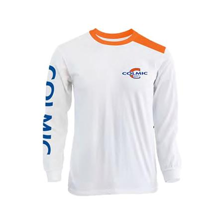 TEE SHIRT MANCHES LONGUES HOMME COLMIC - BLANC/ORANGE