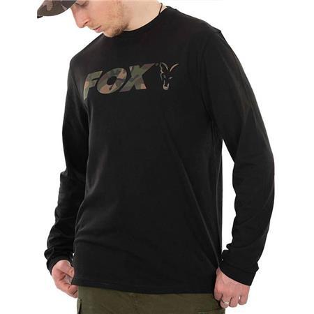 TEE SHIRT MANCHES LONGUES HOMME FOX LONG SLEEVE BLACK/CAMO T-SHIRT - NOIR