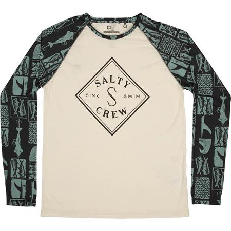 TEE SHIRT MANCHES LONGUES HOMME SALTY CREW TIPPET PINNACLE TECH RAGLAN - BEIGE