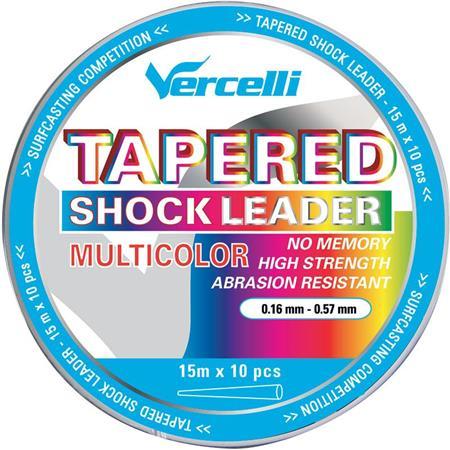 TETE DE LIGNE VERCELLI TAPERED SHOCK LEADER MULTICOLOR 15M X 10