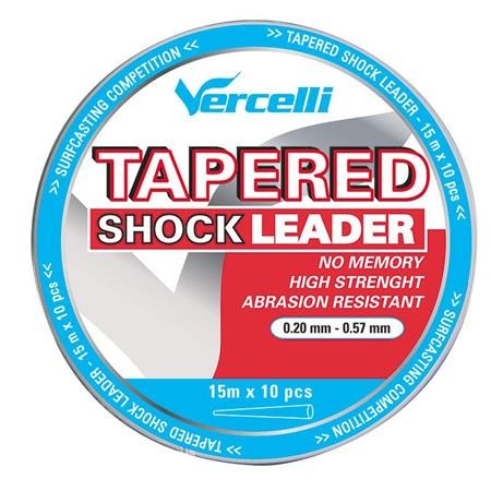 TETE DE LIGNE VERCELLI TAPERED SHOCK LEADER TRANSPARENT 15M X 5