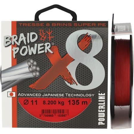 TRECCIA POWERLINE BRAID POWER X8 ROSSO - 135M
