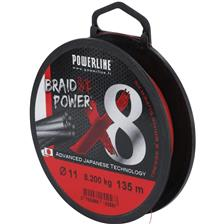 TRECCIA POWERLINE BRAID POWER X8 ROSSO - 300M