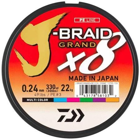 TRESSE DAIWA J-BRAID GRAND X8 MULTICOLORE - 150M