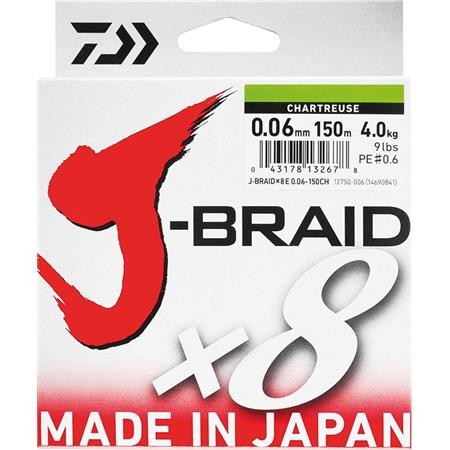 TRESSE DAIWA J BRAID X 8 CHARTREUSE - 150M