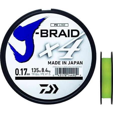 TRESSE DAIWA J BRAID X4B JAUNE - 270M