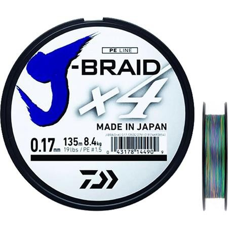 TRESSE DAIWA J BRAID X4B MULTICOLORE - 1500M
