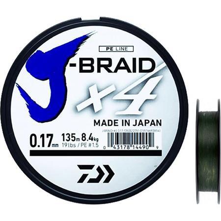 TRESSE DAIWA J BRAID X4B VERT - 1350M