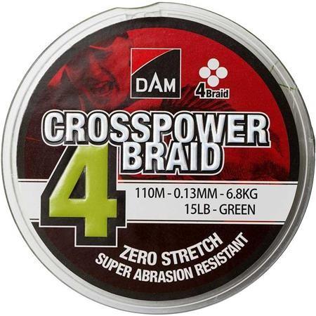 TRESSE DAM CROSSPOWER 4-BRAID VERT - 110M
